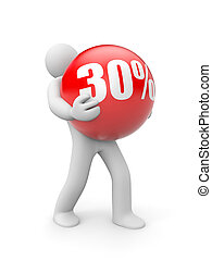 Person with discount ball - Business concept. Isolated on...