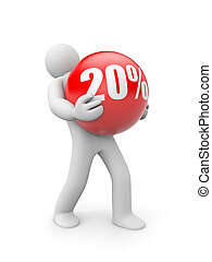 Person with discount ball - Business concept Isolated on...