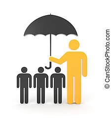 A man with umbrella, protects a group of people - Under...