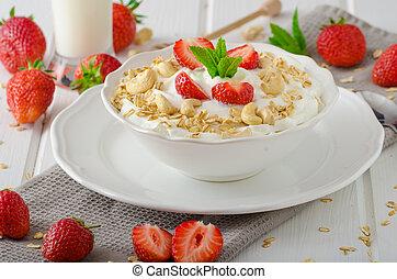 doméstico, yogur, con, fresas,