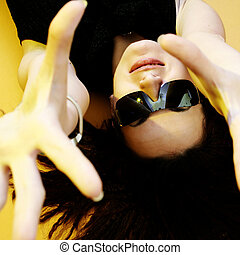 BEAUTYFUL WOMAN - Beautyful woman with sunglasses isolated...
