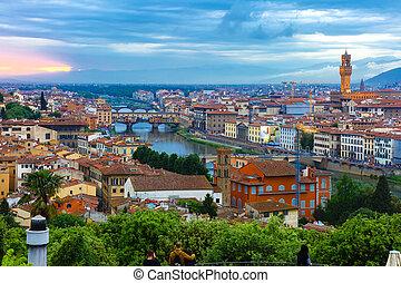 Ponte Vecchio and Palazzo Vecchio, Florence, Italy - River...