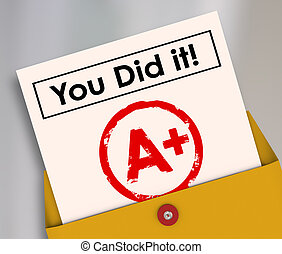 You Did It Report Card Grade A Plus Great Score