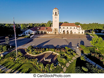 Areal image of the Idaho train depot in Boise - Train Depot...