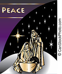 Nativity Christmas Card 2 Vector Illustration.