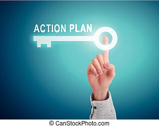 male hand pressing action plan key button over blue abstract...