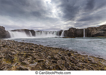 Godafoss waterfall in northern Iceland, overcas and dramatic...