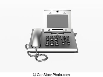 Stylish office phone with copyspace - Metallic modern style...