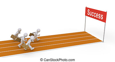 Businessmen running on track