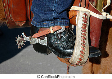Western Boot in Stirrup - Western Lacer Boot With Spurs...