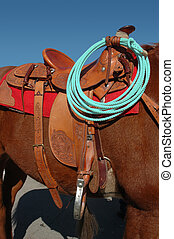 Western Saddle and Rope - Western Ranch Saddle and Roope On...