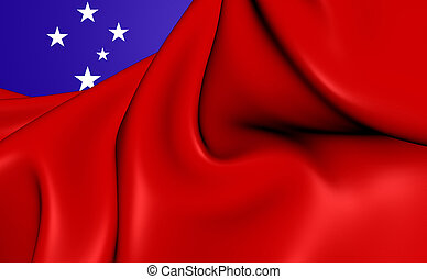 Flag of Samoa - Independent State of Samoa 3D Flag Close Up...