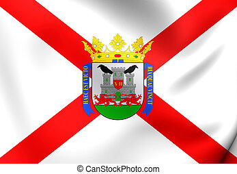 Flag of the Vitoria-Gasteiz, Basque Country - 3D Flag of the...