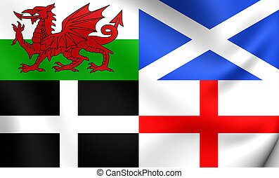 Flag of Wales, Scotland, Cornwall and England - 3D Flag of...