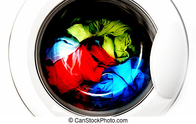 Clothes in laundry - Colorful shirt and trousers in a white...