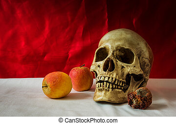 Still life with skull human with apples on a white floor