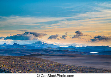 Summer evening - Hekla volcano in Iceland as evening sets...