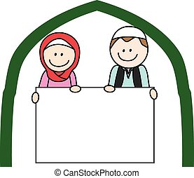 Moslem boy and girl holding banner