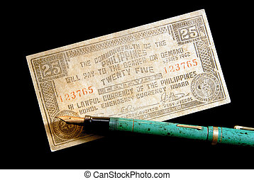 War Currency And Vintage Fountain Pen - World War Two...