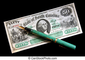 Obsolete State Currency And Vintage Fountain Pen