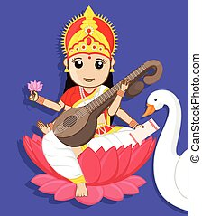 Maa Saraswati - Indian Goddess with Swan Vector Illustration