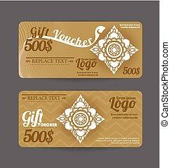 Gift Voucher Thai art pattern vintage design