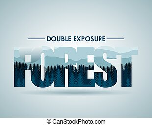 doble exposure - double exposure design, vector illustration...