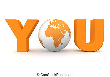 You World Orange - orange word You with 3D globe replacing...