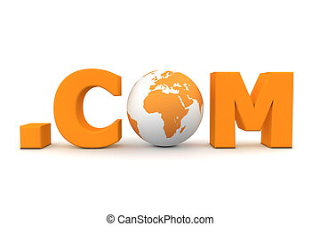 World Dot Com Orange - 3D globe with word dot com in orange...