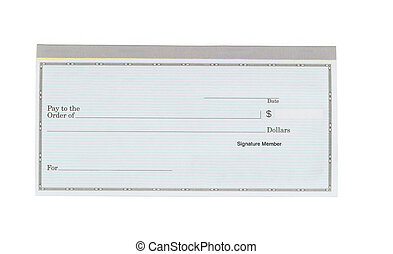 Blank checkbook on white desktop - Close up of blank...
