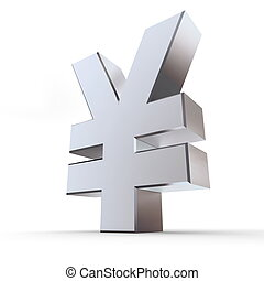Shiny Yen Symbol - shiny metal Yen sign - silver/chrome...