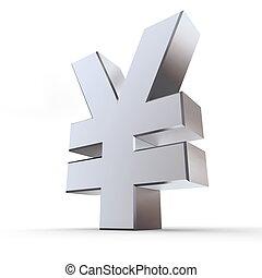 Shiny Yen Symbol - shiny metal Yen sign - silver/chrome...