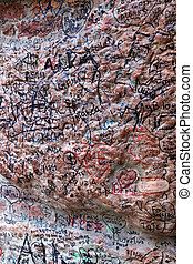 Love declaration at Juliet's house - A stone wall full of...