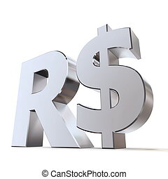 Shiny Real Symbol - shiny metal Real sign - silverchrome...