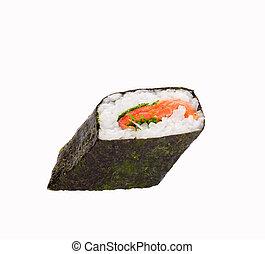sushi isolated object - isolated object of sushi on a white...