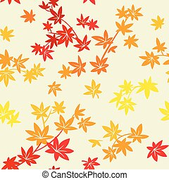 Autumn leaves pattern - Colorful autumn maple leaves...
