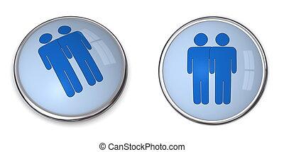 3D Button Male Couple Pictogram - 3D button blue male couple...