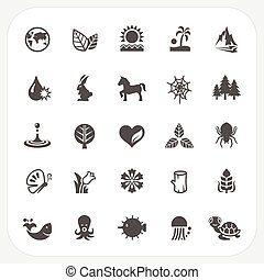 Nature icons set, EPS10, Don't use transparency.