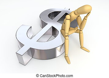 Lay Figure Sitting on Dollar Symbol - lay figure sitting...