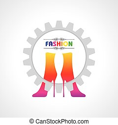 fashion illustration background with creative shoes stock...