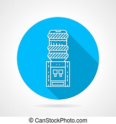 Portable water cooler blue round vector icon