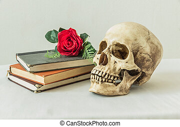 Still life with a human skull with a fake red roses and a...