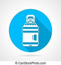 Bottle of water blue round vector icon - Blue round flat...
