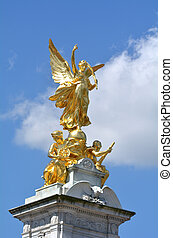 Victoria Memorial, London UK - The gilded Winged Victory at...