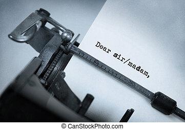 Vintage typewriter - Close-up of a vintage typewriter, old...