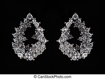 earrings with jewels on the black - Silver earrings with...