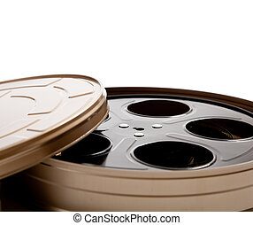 Movie reel canister on white with copy space - Canister with...