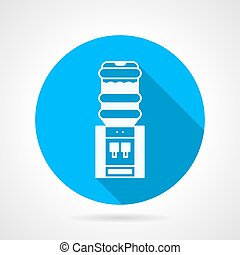 Blue round vector icon for electric water cooler
