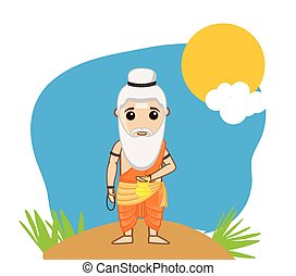 Cartoon Old Sage Character Vector Illustration