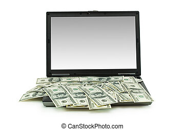 E-commerce concept with dollars and laptop isolated on the white